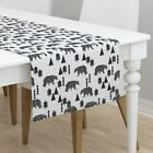 Table Runner Bear Black And White Woodland Nursery Baby Baby Cotton Sateen