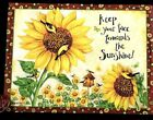 Birds Sunflowers Birdhouse Sunshine LINEN Small Blank Greeting Note Card NEW