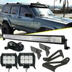 For Jeep Cherokee XJ 50 Curved LED Light Bar +4 18W +Mounting Bracket Tri Row