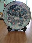Vintage Asian Pine Plate With Stand, Mother of Pearl Hand Painted, Black Lacquer