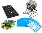 Deluxe Bingo Game Set Kit Metal Wire Cage Wood Board Balls Cards Markers 6 Inch