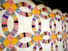 Vintage 1930's Double Wedding Ring Quilt hand quilted pastel yellow