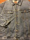 Vintage Lee Riders Blue Denim Jean Trucker Jacket Mens XL Rockabilly