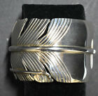 Native American Sterling Silver Feather Bracelet by PJ Navajo SS New Mexico