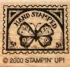 RARE Retired Stampin Up Rubber Stamp Hand Stamped Butterfly Postage Stamp