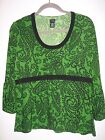 RAFAELLA GREEN + BLACK PAISLEY TOP SHIRT POLYESTER  SPANDEX STRETCH SZ LARGE