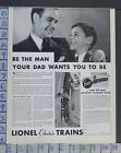 1932 LIONEL ELECTRIC TOY TRAIN BEDROOM FATHER SON GAME VINTAGE AD  CB74