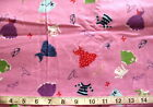 1 2 yd Flannel Fabric Pink with Clothes Hangers Glasses  Bows Allover