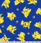 Pokemon Balls Pikachu Toss Blue Robert Kaufman 100 Cotton Fabric By The Yard