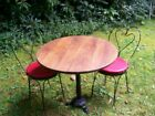 Ice Cream Parlor Round Oak? Wood Table Top Sweetheart Chairs Pedestal Cast Iron