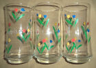 3 LIBBY SPRING TULIPS TULIP Red Yellow Blue FLOWERS Drinking Glass Tumblers