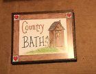 COUNTRY BATH Outhouse Bathroom powder room primitive brown wooden decor sign
