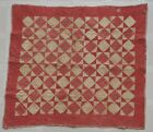 Antique Primitive Handmade Baby Crib Quilt Early Patchwork Blanket Red