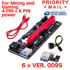 Lot 6 x VER009s 1x to 16x PCI Express Riser Card PCIE Extender Cable For Mining