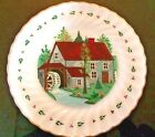 Vintage White Fire King Plate Painted Cottage Scene Very Nice 10