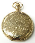 Rockford Hunter Case Vintage Wind Up Pocket Watch 14K Gold 15 Jewels Grade 184