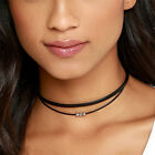 Double Layer Leather Necklace Choker Silver Beaded Bohemian Statement NecklacS1H
