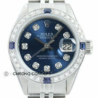 Rolex Ladies Datejust Blue Diamond Dial 18K White Gold & Stainless Steel Watch