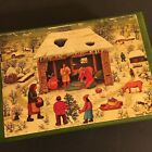 Vintage Reuge Swiss Music Box O Tannenbaum Xmas Carol Wood Folk Art Nativity