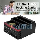 3 IDE SATA 25 35 HDD Hard Drive Disk Clone Docking Station Card Reader USA