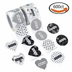 600 Heart and Round Shape Adhesive Labels Thank you Roll Stickers Wafer Seals