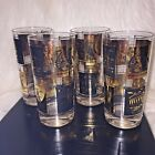 4 MidCentury Black Gold Drinking Glasses 7 Wonders of the World BAR MANCAVE