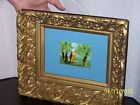 Impressionist Painting On Copper Signed-Antique Hand Carved Wood Gold Gilt Frame