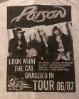 POISON cd lgo Look What the Cat Dragged In TOUR Official GREY SHIRT LRG new