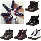 Womens Fashion Boots Combat Military Leather Low Heel Ankle Casual Lace Up NEW