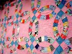 Vintage 1930's Double Wedding Ring Quilt Crib size hand quilted pastel pink