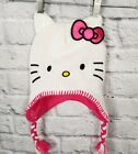 Sanrio New Hello Kitty Winter White Pink Braided Ties Kid Hat Beanie with Bow
