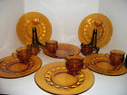 Cups Amber Glass Kings Crown Thumbprint  Indiana Vintage