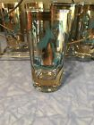 6 MID CENTURY MODERN FRED PRESS TURQUOISE TROJAN HORSE HIGH BALL BAR GLASSES
