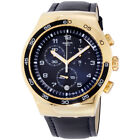 Swatch Irony Golden Yacht Blue Dial Leather Strap Men's Watch YOG409