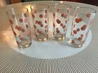 Vintage Coral Polka Dot Glass Tumblers Set of 4 ~ unknown manufacturer