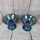 Vintage Indiana Glass Blue Carnival Harvest Grape Taper Stick Candle Holders 2