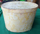 Early American, Signed Wallpaper Hat Box, gold floral on lemon background,