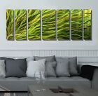 Abstract Green/Gold Metal Wall Art Painted Sculpture - Rays Of Hope by Jon Allen