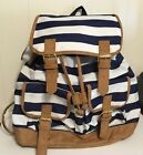 Navy White Tan Gold Polyester Backpack Never Used Excellent Condition