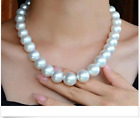 huge  13-15mm AAAA south sea natural round white pearl necklae 18inch 925s