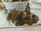 Vintage Cast Iron Asian OXEN WITH BOY Metal Statue Unmarked Estate Find