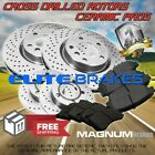 Front+Rear Cross Drilled Rotors  Ceramic Pads for 2010 2014 Chevrolet Camaro SS