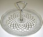 Wexford TIDBIT TRAY with HANDLE Clear Diamond Scalloped Rim Anchor Hocking RARE