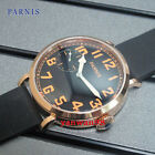 PARNIS 46mm gold plated case black rubber strap hand winding 6497 Movement watch