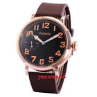 PARNIS 46mm gold plated case rubber strap hand winding 6497 Movement wristwatch
