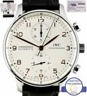 MINT IWC Portuguese Chronograph Stainless Gold 41mm 3714 3714-01 IW371401 Watch