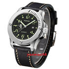 43mm Parnis Black dial steel case green mark 24 hour Miyota ate dautomatic watch
