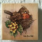Stamps Happen Carolyn Shores Wright Robin in Nest Rubber Stamp Country Bird 35