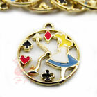 Alice In Wonderland Charms - 23mm Gold Plated Enamel Clock Pendants - 248pcs