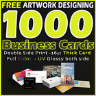 1000 Business Cards Full Color 2 Side Printing UV Coated Free Design